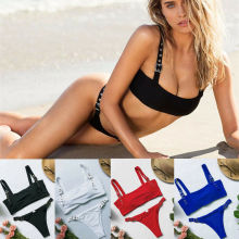 Sexy Cool Women Summer Swimwear Solid Bikini Set Push-up Padded Bra Bathing Suit Swimsuit Beachwear стоимость