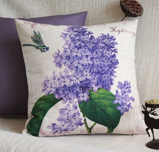Chic Flower Hydrangea Cushion Cover Floral Purple Decorative Throw Pillows  Cases Linen French Country Home Sofa
