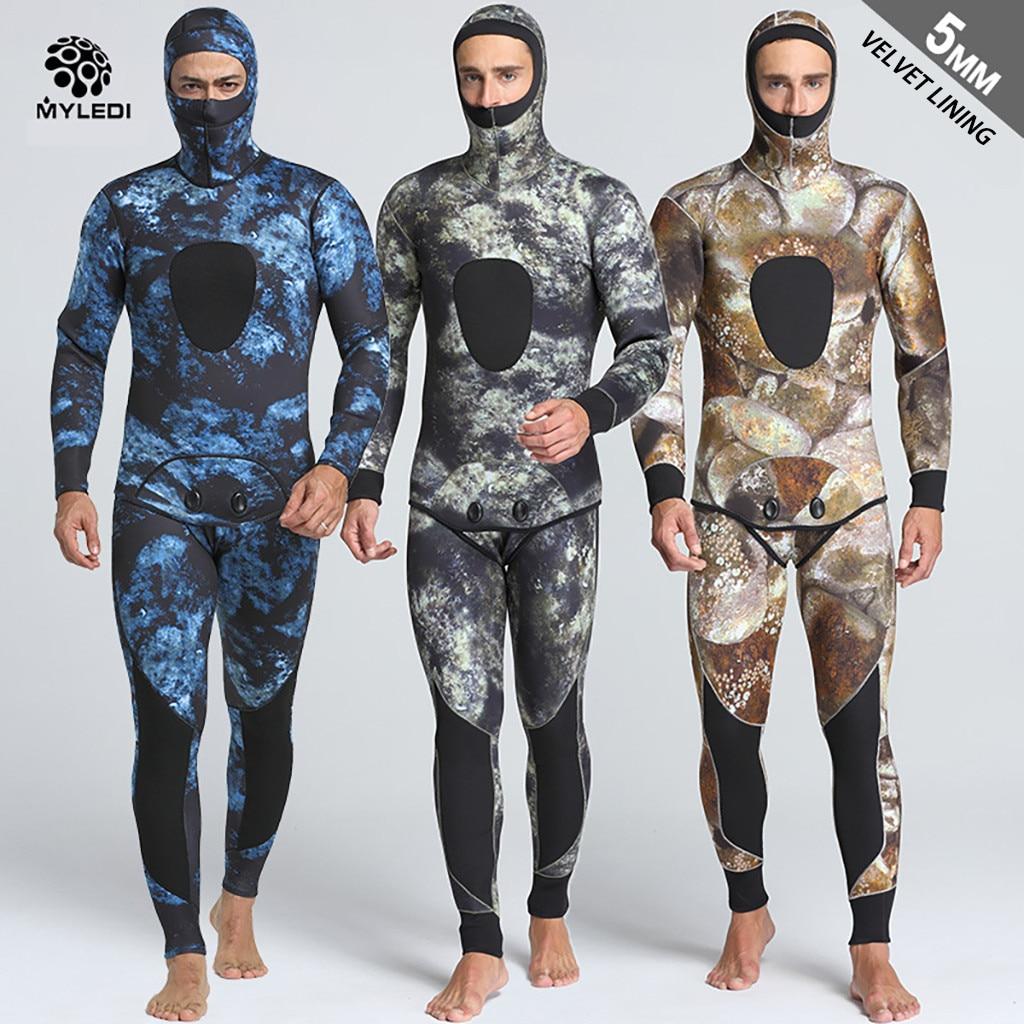 Men 5mm Neoprene Thermal Wetsuits Scuba Diving 2 Pieces Swim Suit Jackets Pants Men' Diving Suit Wrapped In Cap Waterproof A3059