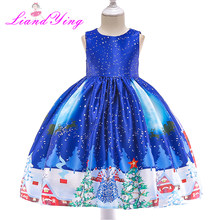 Fancy New Year Baby Girl Christmas Santa Dress For Girls Winter Snowman Holiday Children Clothing Party Kids Costume(China)