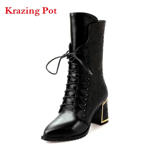 Genuine Leather Women's Pointed Toe Stiletto Heel Lace Up Mid Calf Handmade Boot with Rivets