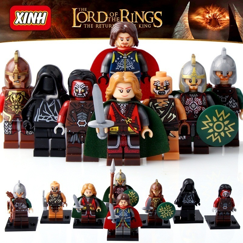 8pcs/set Figures Building Blocks Sets china brand Medieval Hobbit Prince of Khan Khan Aragon Strong Orc compatible with Lego
