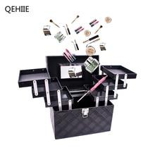 Frauen Falten Schicht Professionelle Make-Up Tasche Top Qualität Large Cosmetic Organizer Box Reise Aufbewahrungskoffer Mit Großer Kapazität Koffer
