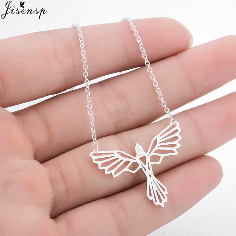 Jisensp Fashion Bird Pendant Necklace Simple Origami Phoenix Necklace for Women Party Cute Geometric Necklace Jewelry Accessorie