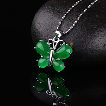 HOT ! 18X22MM Green Jade Four-Leaf Bead Gold Plating Pendant Gem 1PCS
