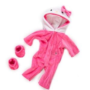Image 2 - Pak + Schoenen Poppen Outfit Voor 17 Inch 43Cm Zapf Geboren Baby Pop Leuke Jumpers Rompertjes Pop Kleding