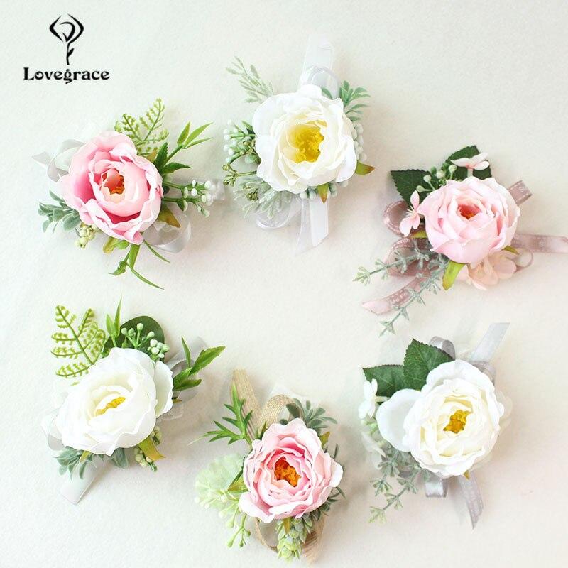 white Pink roses wedding  wrist corsage bracelet bridesmaid Boutonniere flowers (102)