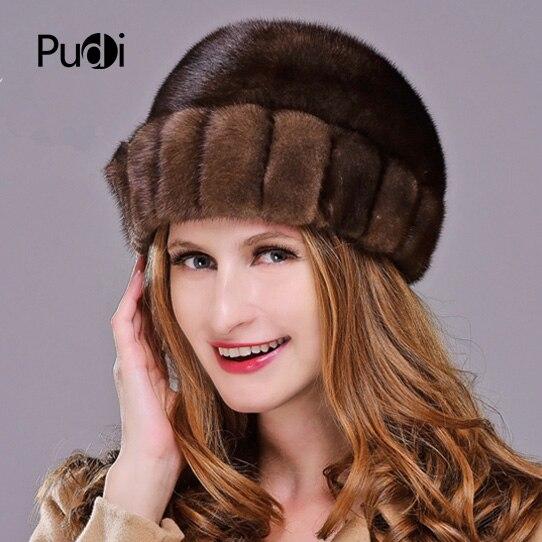 HM015 Real genuine mink  fur hat  Winter hats for women whole piece mink fur hats 3