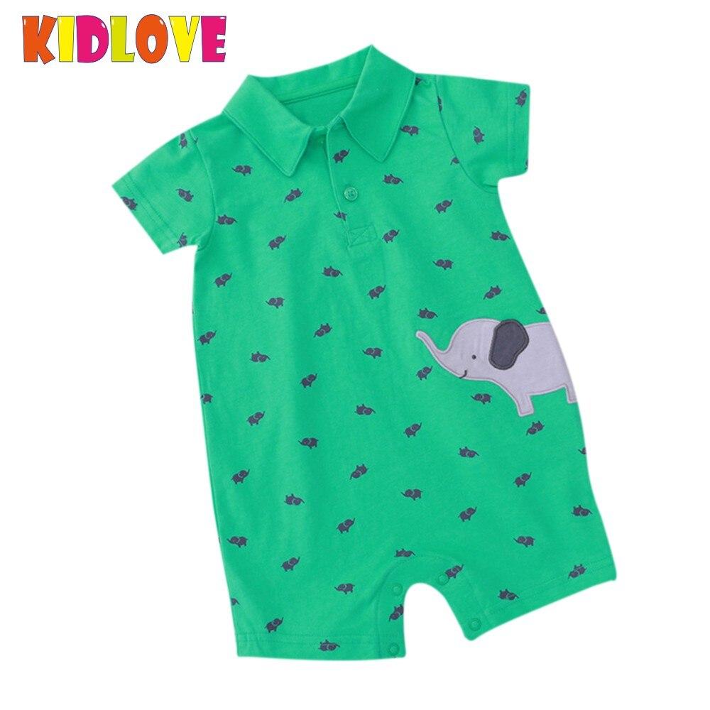 KIDLOVE Summer Baby Boy   Romper   Short Sleeve Cotton Green Jumpsuit Cartoon Elephant Printed Newborn Overalls Clothes ZK30