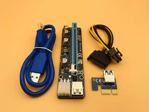 100PCS VER 008C Upgrade Edition PCI-E Riser Express Riser Card 1x to 16x Extender 6Pin Power Cable for BTC Miner Mining Machine