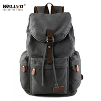 Wellvo Men Canvas Bucket Backpack Students School Bag Casual Luggage Laptop bags Travel Large Capacity Rucksack Mochila XA91WC