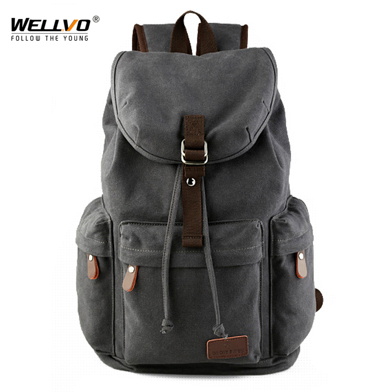 Wellvo Men Canvas Bucket Backpack Students School Bag Casual Luggage Laptop bags Travel Large Capacity Rucksack Mochila XA91WC men backpack student school bag for teenager boys large capacity trip backpacks laptop backpack for 15 inches mochila masculina