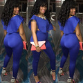2015 New Europe Fashion Sexy Women Bandage Full Length rompers Solid Dark Blue Bodycon Long Pants Club 2 piece rompers