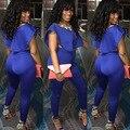 2015 Nova Europa Moda Mulheres Sexy Bandage macacão de Corpo Inteiro Azul Escuro Sólida Bodycon Calças Compridas Clube 2 peça macacão