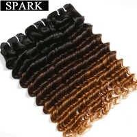 Spark-extensiones de cabello humano brasileño ondulado, extensiones de cabello humano Remy de 1/3/4 piezas, doble trama de Color 1B/4/30