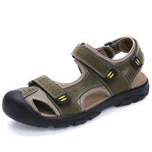 Summer Fashion Brand Men's Casual Sandals Slippers Genuine Leather Cowhide Sandals Outdoor  Male's High Quality Leather Sandals