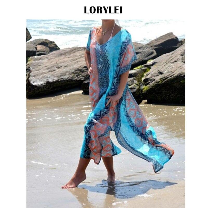 Bohemian Vertical Printed Kaftan Beach Dress Swimsuit Cover Up Plus Size Women Beachwear Short Sleeve Side Split Midi Dress N8