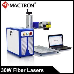 Mactron MT-FP Raycus 20 W/30 w Mini Portáteis de Metal/Plástico da Fibra Máquina de Gravação A Laser com o Rotary e Laptop