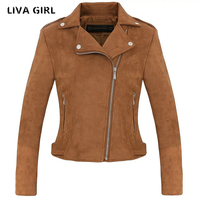 Liva Girl Suede Jacket Women Autumn Winter Zippers Khaki Short Slim Female Coat Jaqueta Feminina Inverno