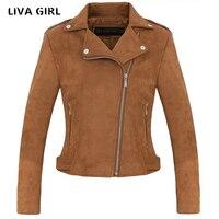 Liva Girl Suede Jacket Women Autumn Winter Zippers Khaki Short Slim Female Coat Jaqueta Feminina Inverno