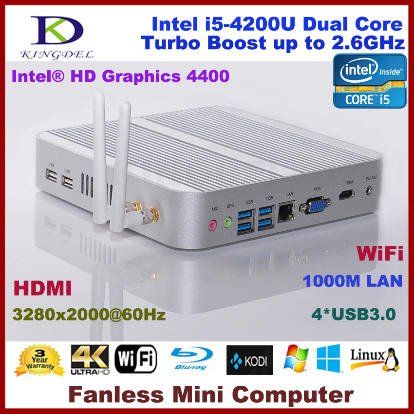 Kingdel Intel I5-4200U Mini Computer, HTPC, 2GB RAM, 32GB SSD, USB 3.0, Fanless, WiFi, 3280*2000, Blue-ray, DirectX 11 Supported