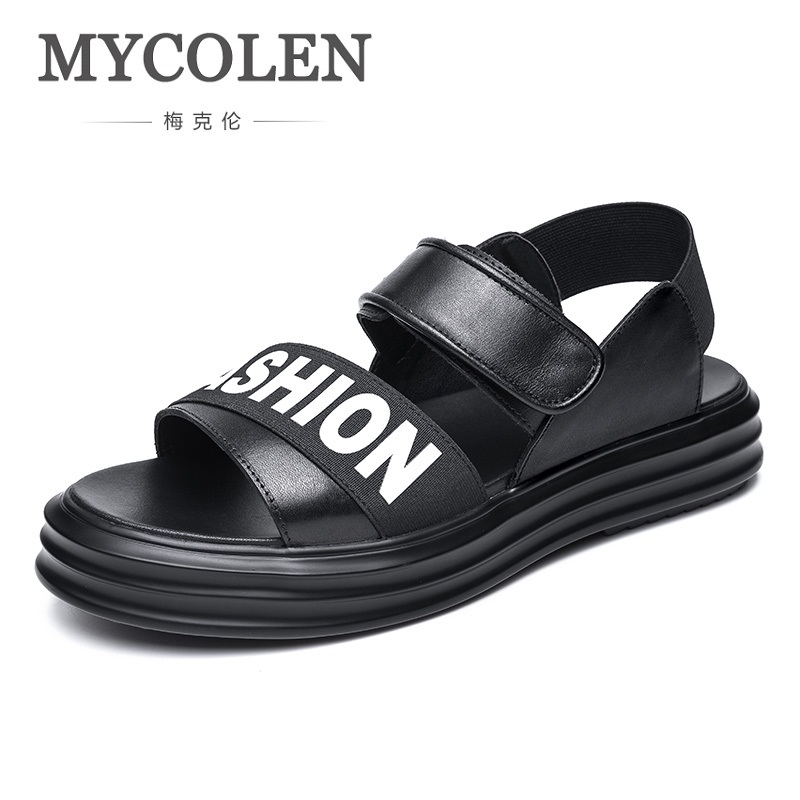 MYCOLEN Sandals For Men Durable Summer Shoes Breathable Genuine Leather Sandals Soft Beach Sandals Slippers Casual Shoes