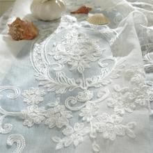 Free shipping white cotton embroidered screens