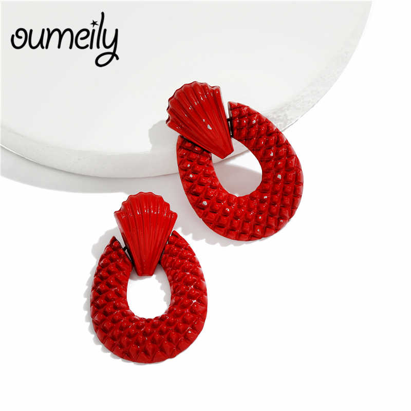 OUMEILY Long Drop Earrings Jewelry For Women Vintage Africa Dubai Wedding Bride Big Fashion Black and White Blue Red Earrings