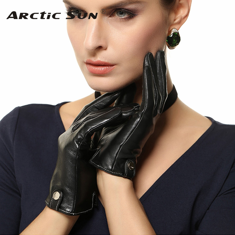 Women Touchscreen Gloves Fashion Real Genuine Leather Winter Plus Velvet Driving Glove Promotion Free Shipping EL033PN1