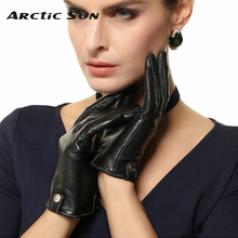 цена на Women Touchscreen Gloves Fashion Real Genuine Leather Winter Plus Velvet Driving Touch Glove Promotion Free Shipping EL033PN1