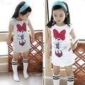Niños lindos de Los Bebés de Minnie Mouse Party Vestido de Camisa de Vestir Ropa Del Niño 3-8Y