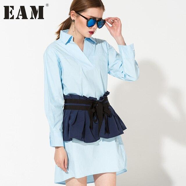 [EAM] Южная Корея 2017 Весенняя Новинка темперамент база футболка с длинными рукавами платье + плиссированные ремень из двух частей AS14045
