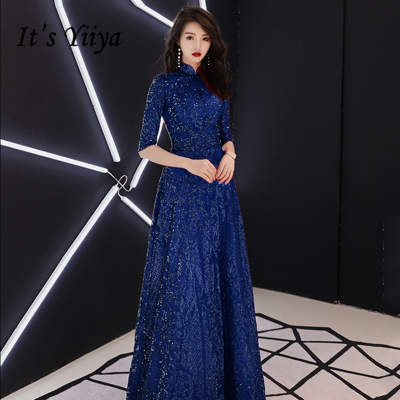 It's YiiYa   Evening     Dresses   Elegant Turtleneck Sequined Floor-length Party   Dress   Simple Lace A-line Zipper Back Formal Gown E395