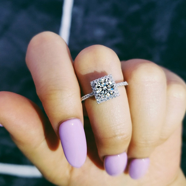 Moonso 925 Sterling Silver Ring Wedding Engagement Rings for Women 3 carat Engagement Rings Jewelry R1300