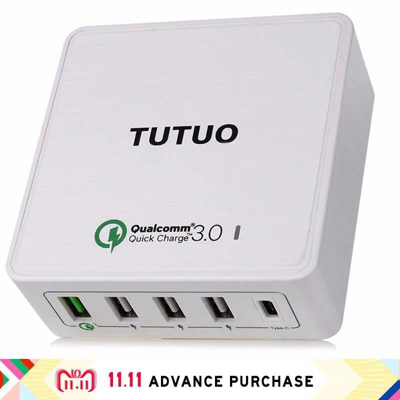 5 dans 1 plus QC 3.0 power adapter chargeur multi usb type C dock téléphone prise de charge iphone fourche rapide charge 3.0 rapide