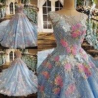2017 dantel 3D renkli çiçek gelin resmi elbise artı boyutu açık mavi annelik gelinlik uzun tren xj00176