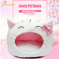 Cute Cat Bow House Dog Bed Pet Bed Warm Soft Dogs Kennel Dog House Pet Sleeping