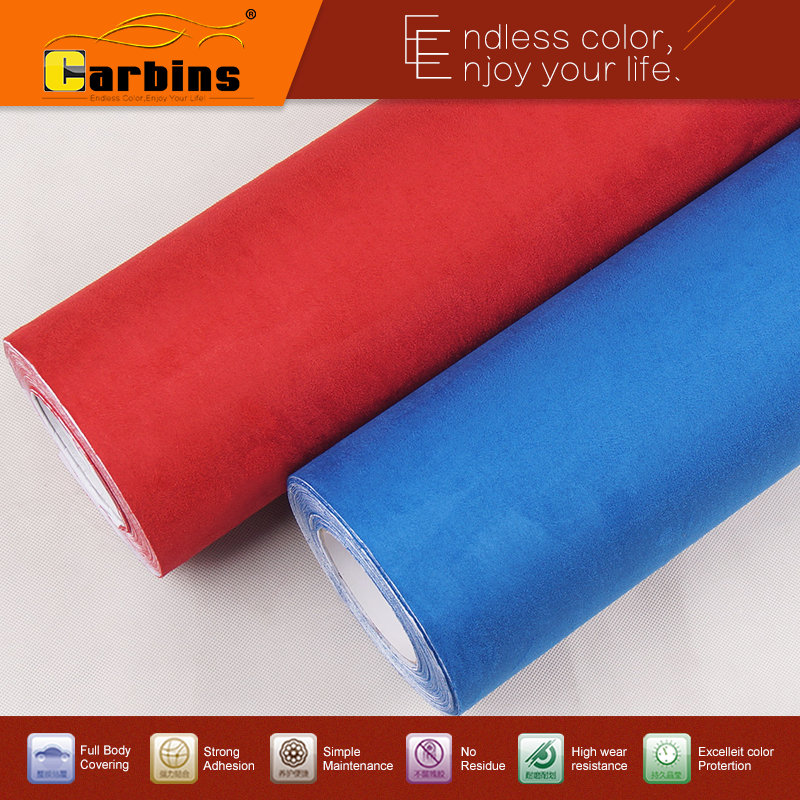 Carbins big pile fabric with self adhesive fabric film for car interior DIY styling 1.42*5 meters roll 10 colors