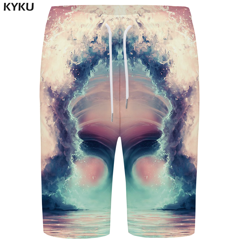 KYKU Wave   Board     Shorts   Men Colorful Boardshorts Phantom Vortex 3d Print   Short   Pants Black Hole Hip Hop Mens   Shorts   Quick Silver