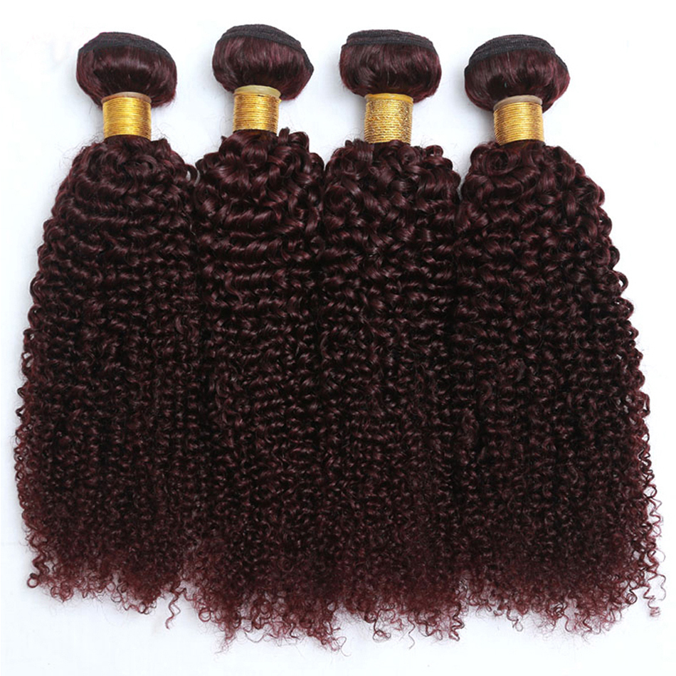 Jaycee Hair Peruvian Curly Hair 3 Bundles 99J Colored Remy Human Hair Extensions Burgundy Peruvian Hair Weaving