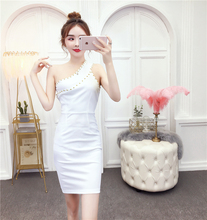 2019 summer Korean version of sexy shoulder sleek light familiar style temperament beaded slim dress female