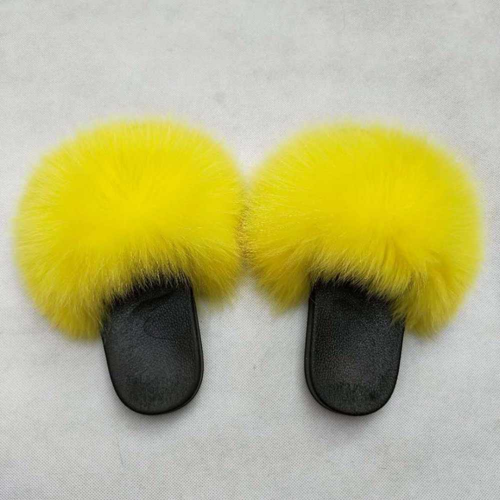 fece1c985156 ... Wholesale Custom Design Women soft Fur Slides With Real fluffy Fox Fur  Slippers for Summer Fur ...