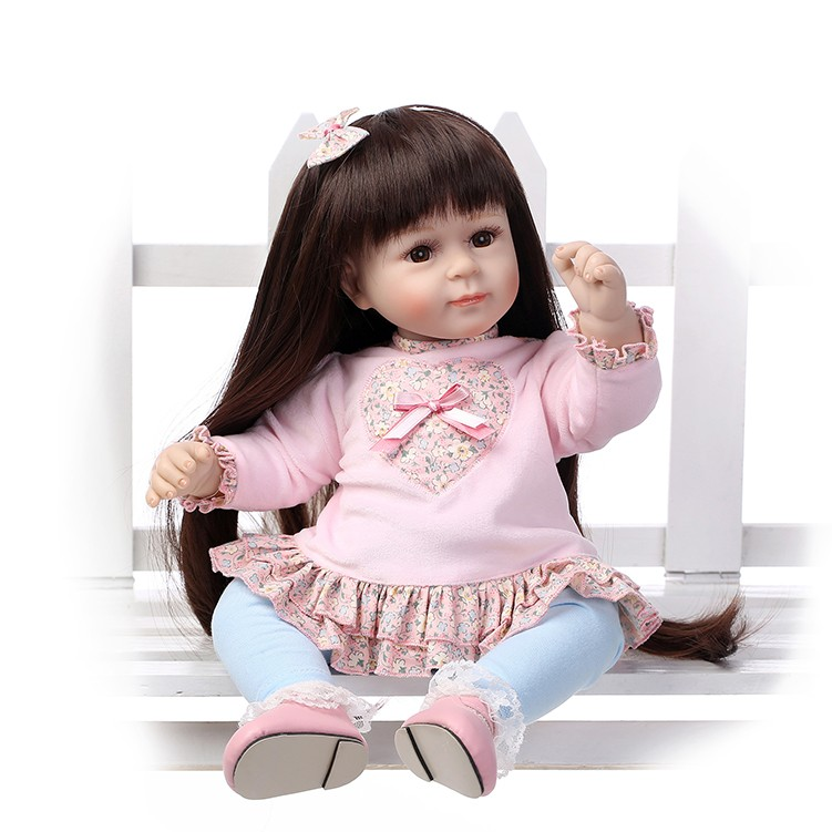 NPK 50 см мягкая силиконовая кукла Reborn Baby 20 игрушка для девочек новорожденная девочка с длинными волосами ребенок подарок на день рождения дл...