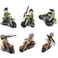 6 unids Militares de la guerra mundial 2 bloque de construcción de ladrillos de caballería Fantasma motocicleta soliders ejército armas ladrillos compatible legod juguetes