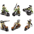 6pcs Military world war 2 bricks Ghost cavalry motorcycle building block army soliders bricks weapons compatible legod toys