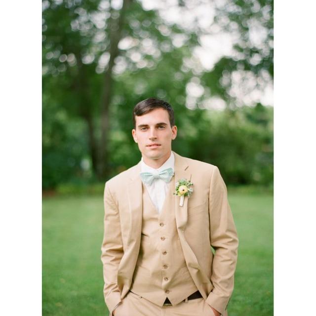 2017 Latest Khaki Tan Linen Wedding Suits for Mens Slim Fit Tuxedo ...