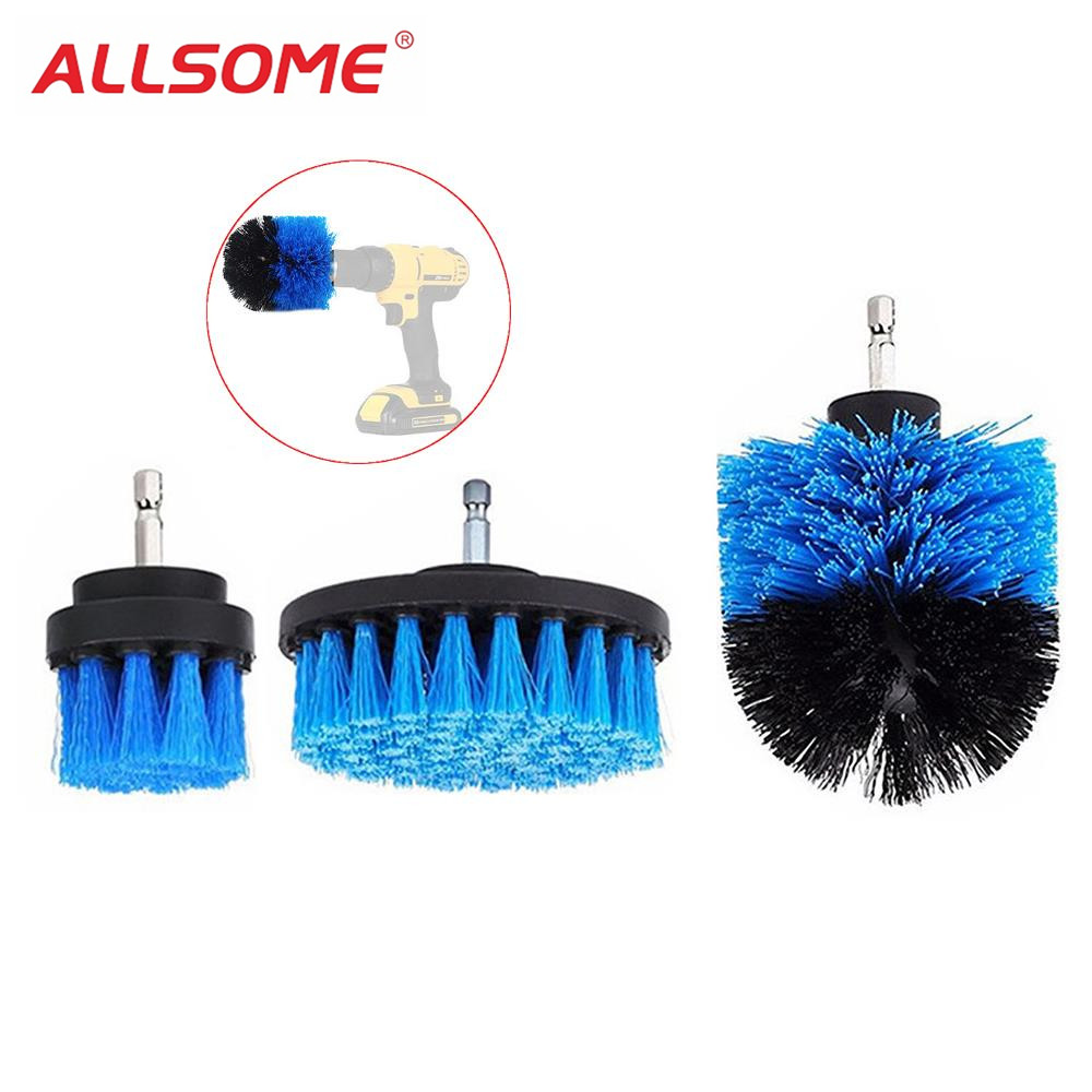 ALLSOME 3 piezas 2/3. 5/4 pulgadas azul taladro cepillo azulejo lechada potencia Scrubber bañera cepillo de limpieza para taladro eléctrico HT1848