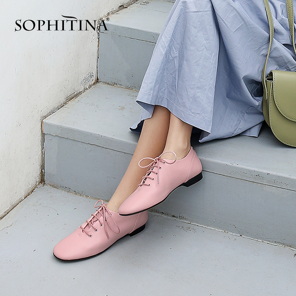 SOPHITINA Comfortable Cow Leather Flats Solid Lace-up Round Toe Derby Shoes Fashion Cross-tied Hot Sale New Womens Flats SO129SOPHITINA Comfortable Cow Leather Flats Solid Lace-up Round Toe Derby Shoes Fashion Cross-tied Hot Sale New Womens Flats SO129