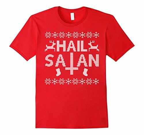추악한 스웨터 휴일 티셔츠-우박 사탄 프린트 티셔츠 티셔츠 코튼 2017 패션 100% 코튼 슬림 피트