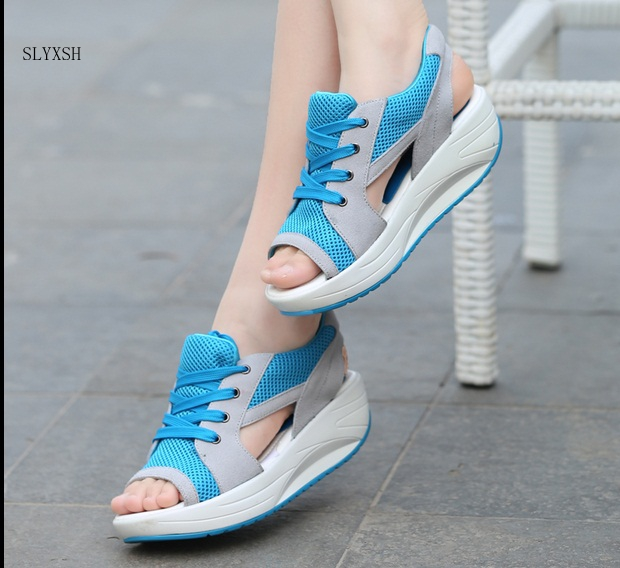 2018 Hot Fashion Summer Women's Sandals Casual Sport Mesh Breathable Shoes Women Ladies Wedges Sandals Lace Platform Sandalias minika women sandals summer shoes breathable lace flats platform wedges lose weight creepers summer sandals cd41
